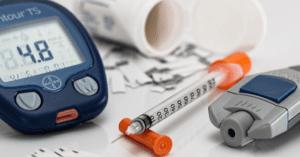 Syringe and diabetes testing supplies.