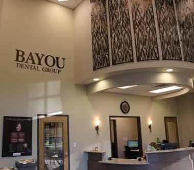 Reception area photo of Bayou Dental Group in Monroe, LA, the office of Dr. David Finley and Dr. P.J. Henderson.